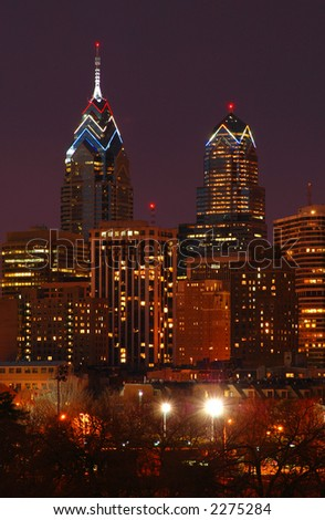 Philadelphia Skyline Nightscape - stock photo