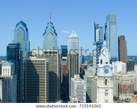 Philadelphia skyscrapers with a beautiful blue summer sky #713141065