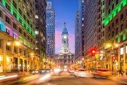 Philadelphia streets with traffic at night