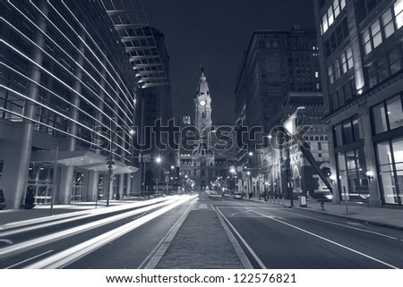 Philadelphia. Toned image of Philadelphia at night. - stock photo