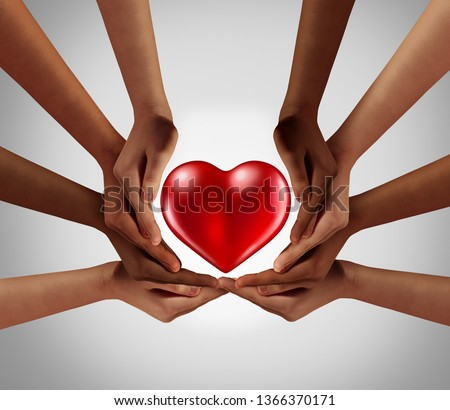 Philanthropy and philanthropic community of sharing and kind support as a symbol for social charitable group or kindness psychology in a diverse society with 3D illustration elements.