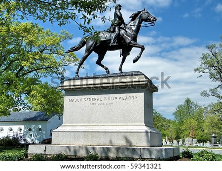 Philip Kearny Monument in Arlington National Cemetery, Arlington Virginia USA - stock photo