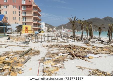 Philipbsburg St.Maarten, Hurricane Irma category 5 causes damage to the island of st.maarten