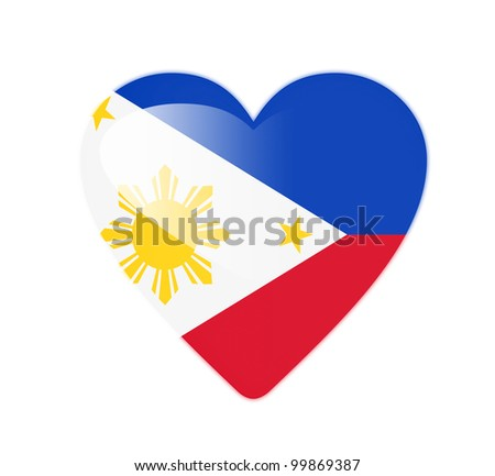 Philippines 3D heart shaped flag - stock photo