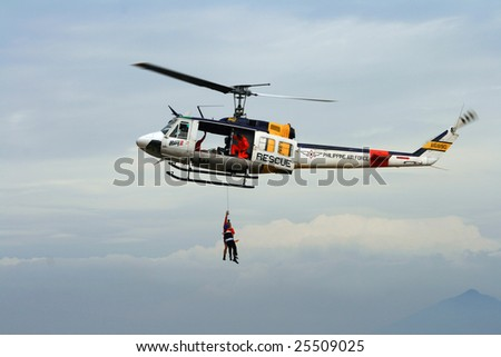 Philippines - February 14: a rescue demonstration at the 14th Philippine International Hot Air Balloon Festival held from Feb. 12-15, 2009 at Clark Pampanga, Philippines - stock photo
