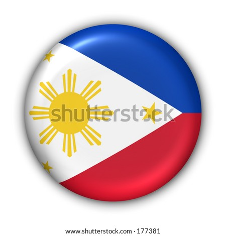 Philippines Flag Button - stock photo