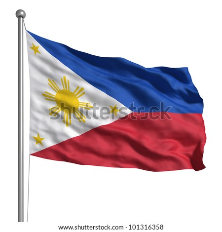 Philippines flag. Rendered with fabric texture (visible at 100%). Clipping path included.