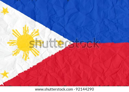 philippines grunge flag on wrinkled paper background