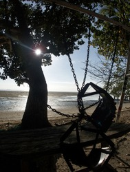 Philippines Palawan Islad Kanigaran Beach chair and tree