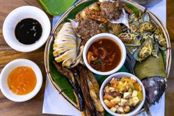Philippines style grilled seafood on the plate
