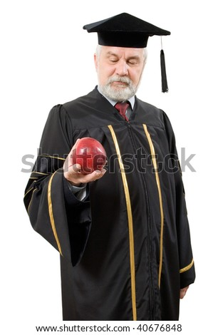 Philosopher with red apple on white background (isolated).