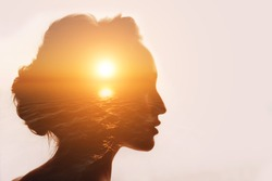 Philosophy concept. Sunrise and six senses woman.