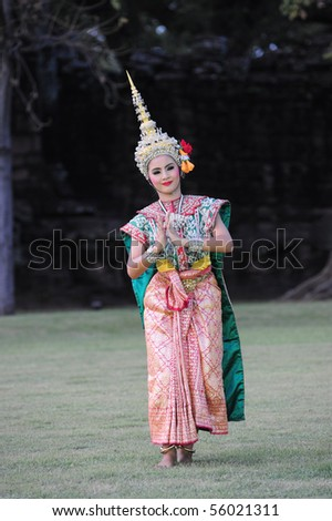 PHIMAI, THAILAND - NOVEMBER 14: A group of Thai dancers perform Thai dance in the occasion of Phimai Light and Sound Festival at Phimai Stone Castle November 14, 2009 in Phimai, Thailand.