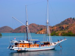 Phinisi boat ready to sail in Labuan Bajo, Flores, Indonesia