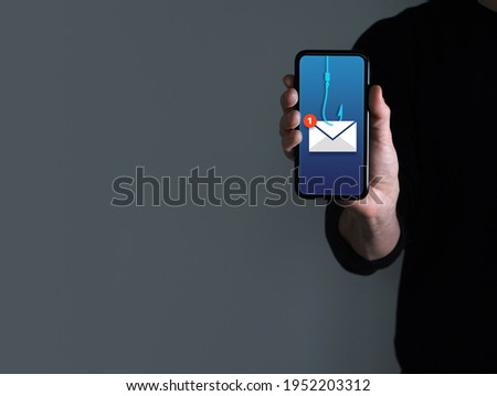 Phishing bait alert concept on a smartphone screen