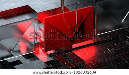 Phishing Email Scam 3D Illustration Stok fotoğraf ©