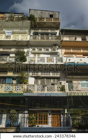 PHNOM PENH, CAMBODIA - NOV 17: Residential building in downtown viewed from the busy street in Phnom Penh, Cambodia on November 17 2014.