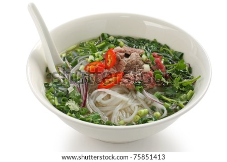 Pho bo , Vietnamese  food , rice noodle soup with sliced rare beef
