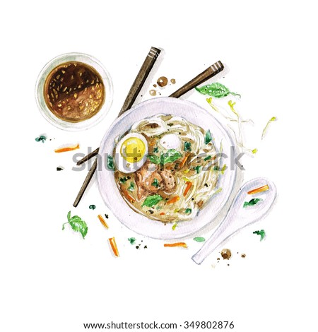 Pho Soup - Watercolor Food Collection