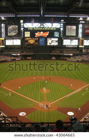 PHOENIX - APRIL 29 : Domed Chase Field in Arizona, during an Arizona Diamondbacks and San Francisco Giants baseball game on April 29, 2007 in Phoenix.