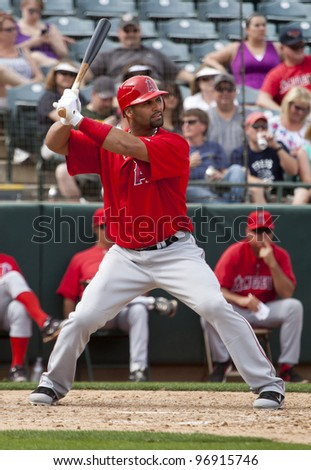 PHOENIX, ARIZONA– MARCH 4: Albert Pujols of the Los Angeles Angels of Anaheim takes his first at bat of Spring Training in Phoenix, Arizona on March 4, 2012.