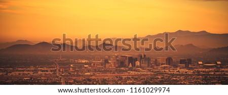 Phoenix Arizona Panoramic Photo. Sunset in the City. United States of America.