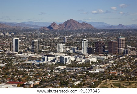 Phoenix, Arizona skyline along Central Avenue with Camelback Mountain in the distance