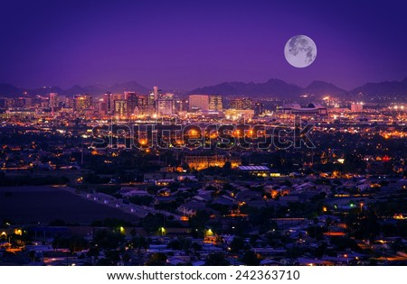 Shutterstock Phoenix Arizona Skyline at Night. Full Moon Over Phoenix, Arizona, United States.