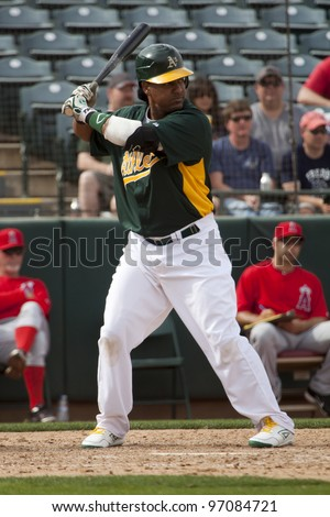 PHOENIX, ARIZONA, USA – MARCH 4: Manny Ramirez of the Oakland Athletics bats during a Spring Training game in Phoenix Arizona on March 4 2012.