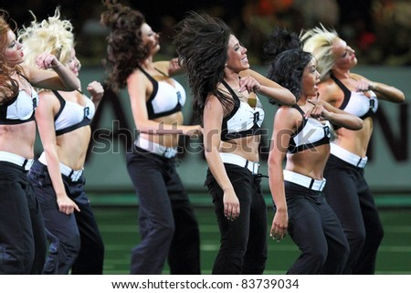 PHOENIX, AZ - APRIL 2: Rattlers Sidewinders dancers keep fans entertained during Arena Football League action against the Orlando Predators at U.S. Airways Center on April 2, 2011 in Phoenix AZ.