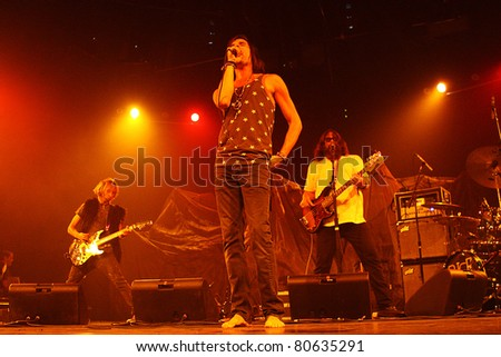 PHOENIX, AZ - JUNE 28: Brent James & The ContraBand perform for fans at the Celebrity Theatre in Phoenix Arizona on June 28, 2011.