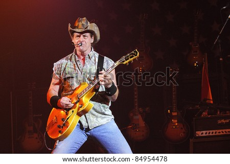 """PHOENIX, AZ - JUNE 28: Ted Nugent, """"The Motor City Madman"""" performs for fans at the Celebrity Theatre in Phoenix Arizona on June 28, 2011."""