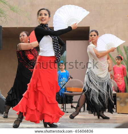 PHOENIX, AZ - NOV. 14: Flamenco dancer Yumi La Rosa headlines a performance at the Desert Botanical Garden on Nov. 14, 2010 in Phoenix, Arizona.