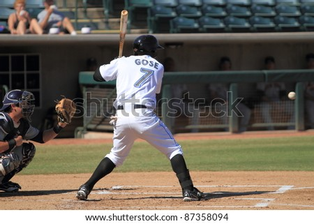 PHOENIX, AZ - OCTOBER 19: Anthony Gose, a Toronto Blue Jays prospect, bats for the Phoenix Desert Dogs in an Arizona Fall League game on Oct. 19, 2011 at Phoenix Municipal Stadium, Phoenix, AZ. Gose drove in 3 runs.