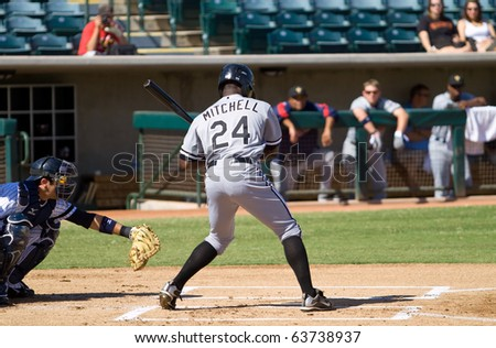 PHOENIX, AZ - OCTOBER 19: Jared Mitchell, a top prospect for the Chicago White Sox, bats for the Peoria Saguaros in an Arizona Fall League game Oct. 19, 2010 at Phoenix Municipal Stadium, Arizona.