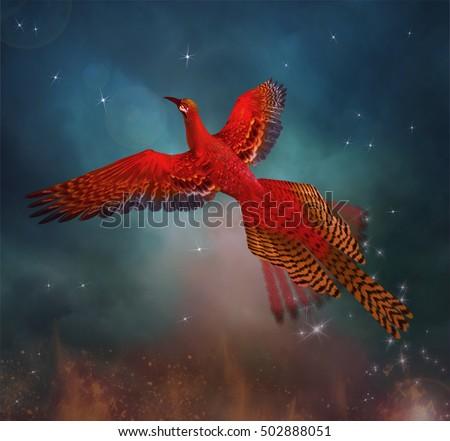 Phoenix flies through the sky - 3D illustration Сток-фото ©