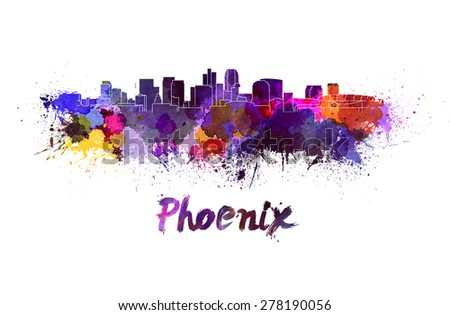 Phoenix skyline in watercolor splatters with clipping path