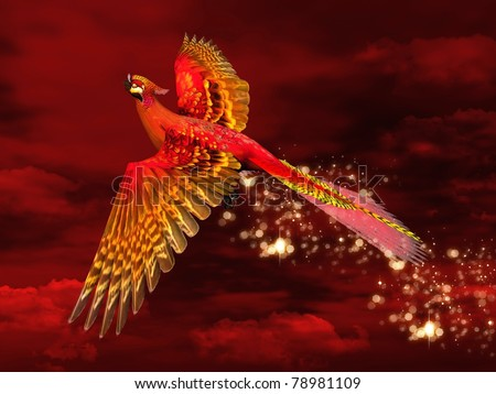 Phoenix through a red sky - stock photo