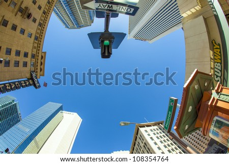 PHOENIX, USA - JUNE 14: perspective of skyscrapers corner San Carlos Monroe street on June 14,2012 in Phoenix, Arizona. The famous San Carlos was inaugurated in 1927.