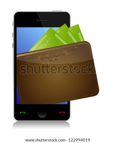 Phone and money illustration design over a white background