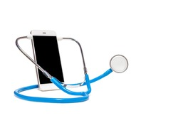 Phone and stethoscope. Doctor online concept. Online medical clinic communication with patient. Online medical consultation.