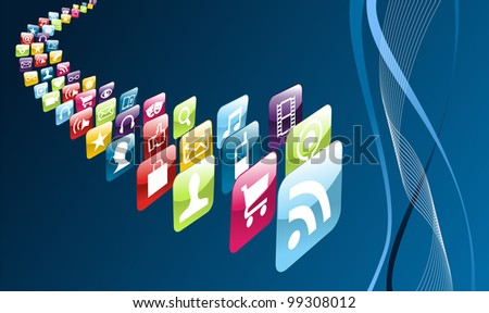 Phone application store icons on blue background.