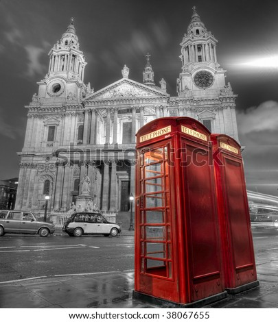 Phone booths in front of St Paul's Cathedral in London