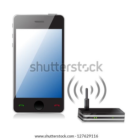 phone connected to router illustration design over white