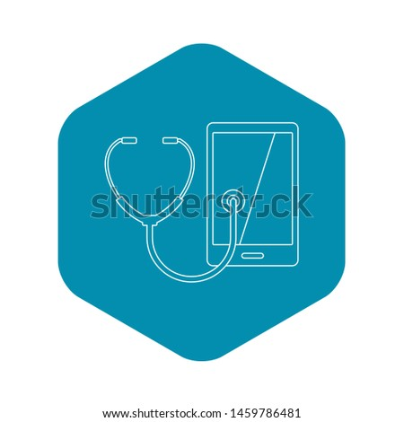 Phone diagnosis icon. Outline illustration of phone diagnosis icon for web