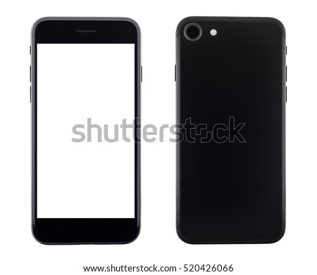Shutterstock phone front and backside view isolated on white background