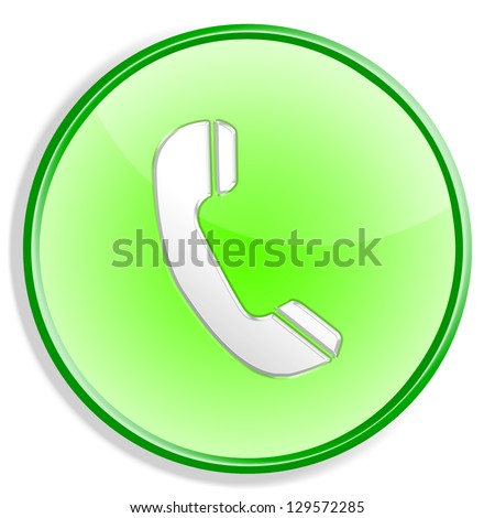 Phone icon button isolated over white background
