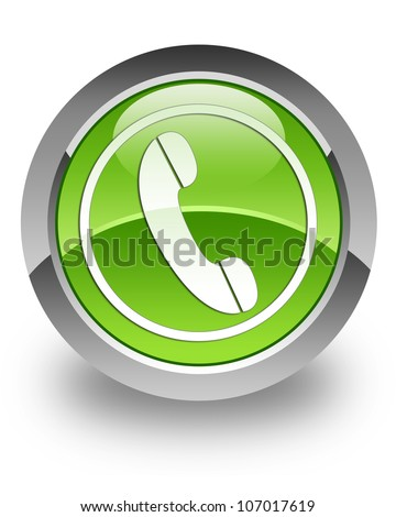 Phone icon on glossy green round button