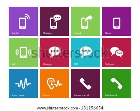Phone icons on color background. See also vector version.
