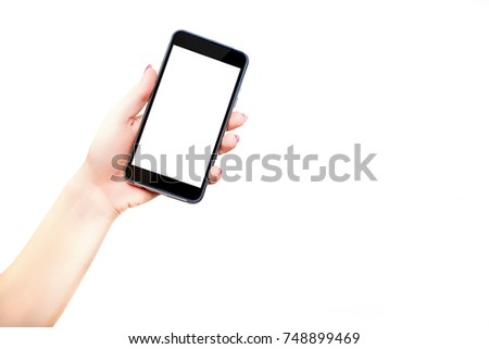 Phone in hands held from down. A woman is holding a black phone with a blank screen in her hand. Possible to complete mobile phone content. Online shop. Online shopping, content on your smartphone. #748899469